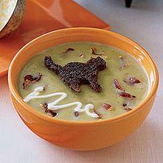 Pea Soup with Black-Cat Croutons | Myrecipes