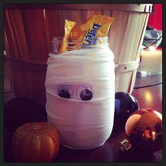 Mummy mason jar/ mason jar/ halloween decor/halloween candy