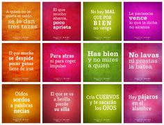 Dichos en esp~nol--found on one of my absolute favorite websites for raising bilingual kids. Spanish Idioms, Spanish Jokes, Ap Spanish, Spanish Vocabulary, Learn Spanish, Spanish Lesson Plans, Spanish Lessons, Teacher Memes, Teacher Education