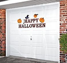 Deck out your garage's exterior with a festive set of magnetized decals that affix easily to a steel garage. The best part is that they can be removed and reused each year! Halloween Garage Door, Halloween Town, Halloween Stuff, Halloween Ideas, Happy Halloween, Holiday Decorating, Decorating Ideas, Decor Ideas, Garage Door Decor