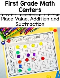 Grade Place Value and Addition and Subtraction Math Centers First Grade Classroom, 1st Grade Math, Kindergarten Math, Activity Centers, Math Centers, Math Tubs, Math Journals, Homeschool Math, Place Values