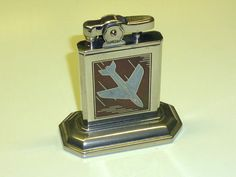 SIMSON (KREMER & BAYER) TABLE WICK LIGHTER WITH AIRPLANE MOTIF - 1953 - GERMANY