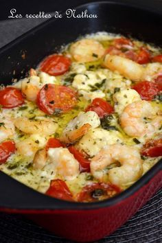 My cooking over my ideas .: Scampi with garlic, feta and cherry tomatoes .- My cooking over my ideas …: Scampi with garlic, … - Fish Recipes, Seafood Recipes, Pasta Recipes, Cooking Recipes, Healthy Eating Tips, Healthy Recipes, Batch Cooking, Casserole Recipes, Easy Dinner Recipes