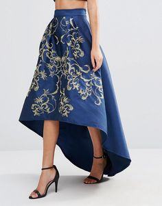 Image 4 of Chi Chi London Premium Full Midi Skirt With Gold Embroidery