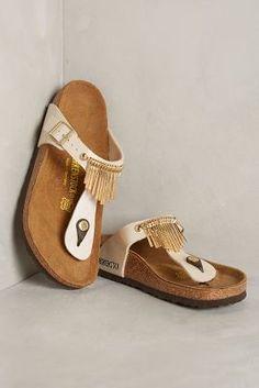 Birkenstock Gizeh Fringe Sandals Gold