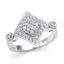 1/2 Carat Diamond Square Ring in Sterling Silver