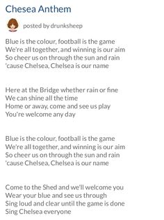 BLUE IS THE COLOUR: The CHELSEA FC Anthem