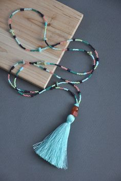 Turquoise tassel necklace beaded tassel necklace by Wildsoulgirls