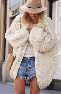 Boho chic--oversized cardigan, wool hat, denim, over the shoulder bag