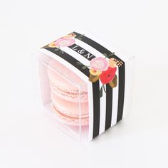 Roses and Stripes Personalized Favor Box from Sweet Paper Shop   Customize the monogram   Fill with petite macarons, candy, votive candles, small soaps and more.