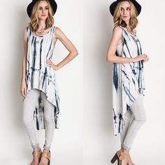 """""""Inscription"""" Tie Dye Loose Tank Tunic Top Loose tie dye tunic top with a high low hem. Pair with your favorite bralette! Runs loose. Model is wearing the size small. Brand new. NO TRADES. Bare Anthology Tops Tunics"""