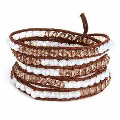 Chen Rai Cocoa and Quartz Leather Long 5 Row Wrap Bracelet Eve's Addiction. $28.00