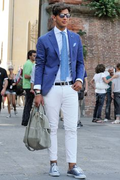 White mens Chinos blue blazers - Google Search
