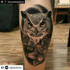 Find the tattoo artists and the perfect inspiration to your tattoo. Owl Forearm Tattoo, Owl Tattoo Chest, Forearm Tattoo Design, Calf Tattoo, Tattoo Owl, Best Sleeve Tattoos, Body Art Tattoos, Owl Tattoo Design, Tattoo Designs