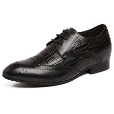 TopoutShoes - Taller 2.4inch / 6cm British black elevator bullock carve pointy toe formal shoes