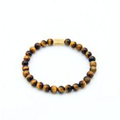 Men's Beaded Bracelet Yellow Tiger Eye