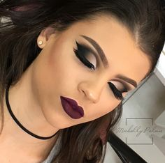 dramatic smokey eye with dark lip | vamp lipstick | dark eye makeup and dark lipstick | makeup inspiration #makeup #makeupartist