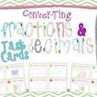 44 Converting Fractions and Decimals Task Cards. The cards use a variety of different ways to challenge and engage your students in seeing the simi...