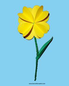 Un semplice fiore facile da realizzare creato con cartoncini colorati e un nettapipe. Idea da tenere presente come lavoretto per la Primavera e per la Fest