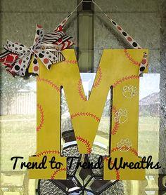 Wooden Softball Letter, Softball, Softball Wall Decor, Softball Gift, Team Gift, Softball Door Hanger, Bobcat Softball Letter, Paw Print - pinned by pin4etsy.com