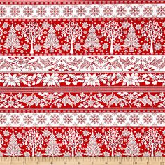 Winter Essential IV Stripe Red from @fabricdotcom  From Studio E, this cotton print collection features classic color combinations and traditional winter and Christmas themes. Perfect for quilting, apparel, and home decor accents. Colors include red and white.