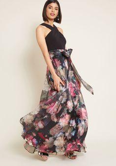 Eliza J Influential Elegance Floral Maxi Dress in Black   ModCloth