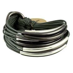 Gillian Julius Multi Tube Bracelet, Mixed Iridium   Grey Cord. Multi strand bracelet consisting of 20 waxed cotton cords. Each cord of bracelet features either a silver or iridium tube. $275