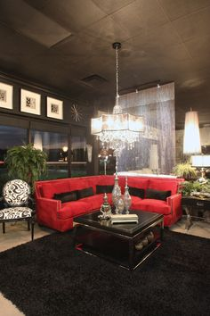 Red Contemporary Design. LUXE Gallery Showroom. Tampa, Florida.
