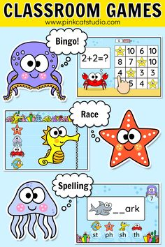 Review any subject in a fun and engaging way with these ocean / under the sea theme educational games for iPads, interactive whiteboards (SMARTBoard, Promethian) and computers. Make your own questions or choose from hundreds of teacher created quizzes and play them in any of the games. Perfect for math centers and literacy centers as well as whole class activities during back to school. #educationalgames #mathcenters #literacycenters #backtoschool #oceanclassroom #undertheseatheme Educational Math Games, Educational Websites For Kids, Fun Math Games, Classroom Activities, Learning Resources, Classroom Ideas, Ocean Activities, Class Activities, Online Games For Kids