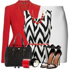 Zigzag Sleeveless Top and White Skirt
