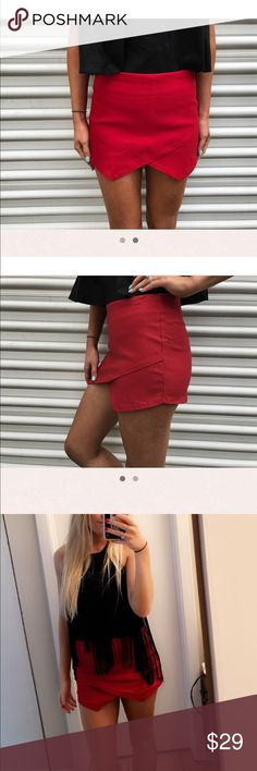 thirty one boutique red envelope skirt absolutely stunning skirt!! worn once. perfect condition. sold out @ thirty one boutique. size small (size 2) not from brandy! from thirty one boutique Brandy Melville Skirts Mini