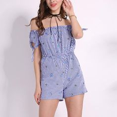 e5aa8ec05ef4 2018 Summer Stripe Rompers Womens Embroidery Jumpsuits Sexy Slash Neck  Short Sleeve Overalls Vintage Playsuit Bodysuit