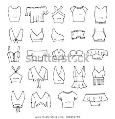 Fashion sketches drawing clothes fashion drawing drawings clothing sketches fashion design hand drawn vector clothing set 24 models of trendy crop tops isolated on white fashionsketches source by xyjensen clothes fashion drawing dress from my sketch book Fashion Design Sketchbook, Fashion Design Drawings, Fashion Sketches, Drawing Fashion, Fashion Drawing Tutorial, Art Sketchbook, Body Drawing Tutorial, Croquis Fashion, Fashion Drawing Dresses