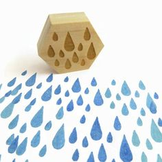 NEW A Little Fall of Rain Stamp, Hexagon Wood Mounted Rubber Stamp by Creatiate