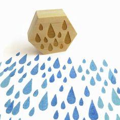 ALLE NEUEN Holz montierte Stempel DESIGN ▴ ▴ Ein wenig Herbst Regen (Raindrops) GRÖßE ▴ ▴ Design ist 1,25 cm (3) DETAILS ▴ ▴ Diese Stamp