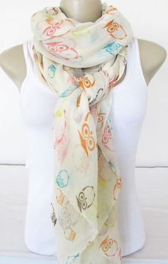 Cute Owl Scarf - Large Fashion Scarf for Women