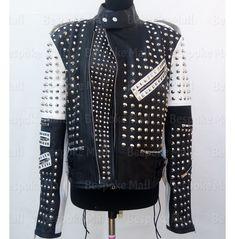 Black Leather Corset, Studded Leather Jacket, Show Jackets, White Fashion, Jacket Style, Clubwear, Stylish, Belts, Stitching