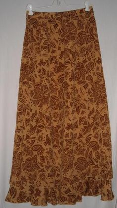 "SOLD! Perfect Bohemian Fall Skirt Coldwater Creek 100% Silk Fits 24"" to 34""Waist Size P/S Free Shipping"