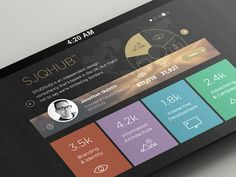 SJQHUB™ // Visual Data infographics UI design – flat UI, pictograms, colour