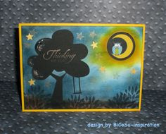 Eule bei Nacht Grußkarte - Greeting Cards - Owl in the Night - with stampin up Petal Parade leaves stamp