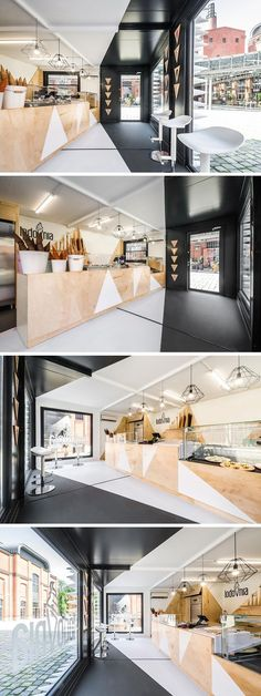 This modern ice cream shop in Poland has a black and white interior that's softened up by the use of natural plywood.