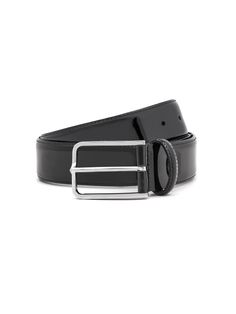 Formalwear rounded calfskin #belt, sewn 35 mm, palladium buckle. #Corneliani #SS17 #accessories