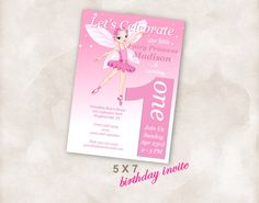 5X7 1st Birthday party invite Invitation printable by Mazoria