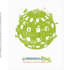 Greenbuild Expoプリント広告デザイン。 フェニックス。 メインストリートグリーン。 USGBC会議、地球儀、持続可能性、社会の構造