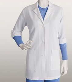 Lab coat 2 pockets button tab sleeve Clean finish back yoke Mock back band with 2 adjustable buttons Back slit Arclux technology with stretch polyester/ cotton/ spandex Center back length : Sleeve Length: White Lab Coat, Greys Anatomy Scrubs, Lab Coats, The Struts, Grey's Anatomy, Pocket, Future Career, Casual, Sleeves