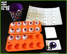 EYE Can Count To 20! A fun, engaging Halloween math center that is great for 1 to 1 correspondence to 20! (FREEBIE!)