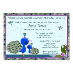 PEACOCK Baby Shower invitation girl boy mommy PBM 4f474b65386