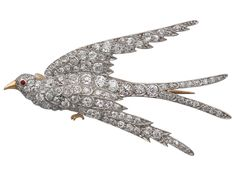 3.34ct Diamond, Ruby & 18ct Yellow Gold, Platinum Set 'Swallow' Brooch -