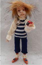 Colm Elf w/ Ladybug OOAK Fairy Fairies Sculpture Art Doll Posable Polymer Clay