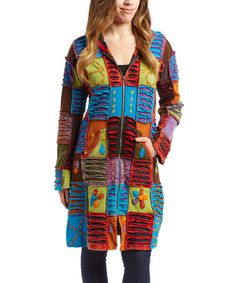 Look at this #zulilyfind! Blue & Red Patchwork Long Zip-Up Hoodie by Rising International #zulilyfinds